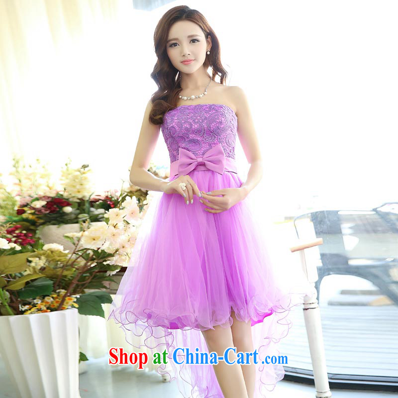 Air Shu Diane 2015 red short shaggy dress dress bridal wedding dresses bare chest toast clothing bridesmaid dress fall and winter season, Purple M