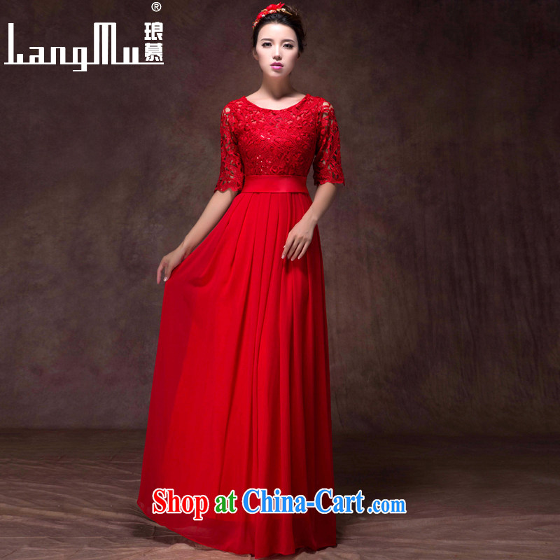 In Luang Prabang in 2015 of new dress a field package shoulder Korean version 7 cuff lace beauty video slim, dress uniform toasting red high-end custom