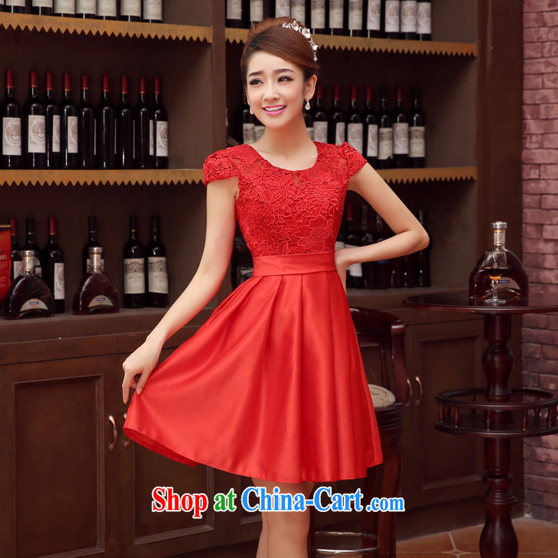 wedding dresses bridal toast service 2015 new wedding dress bridesmaid clothing evening dress short dual-shoulder straps red M