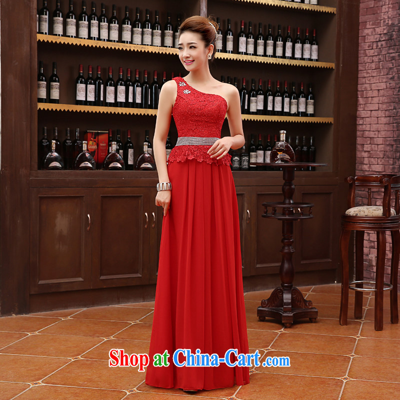 New 2015 bridal wedding wedding dress uniform toast long red bridesmaid stylish wiped his chest autumn and winter female Red s