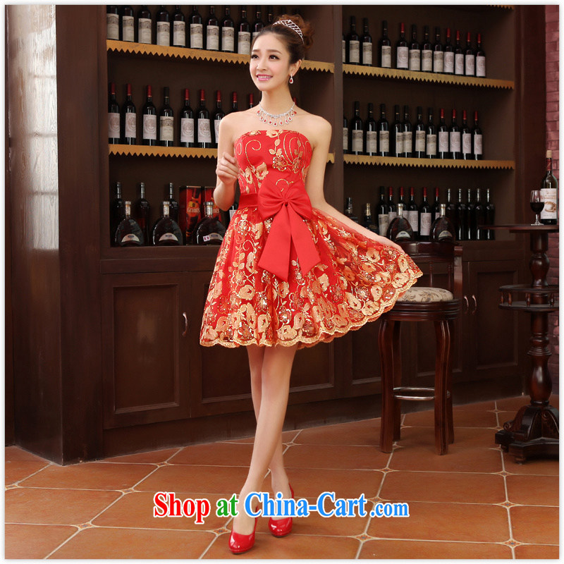 New Small dress dress bridal replacing bridesmaid clothing wedding dresses red wedding toast served with short red XL