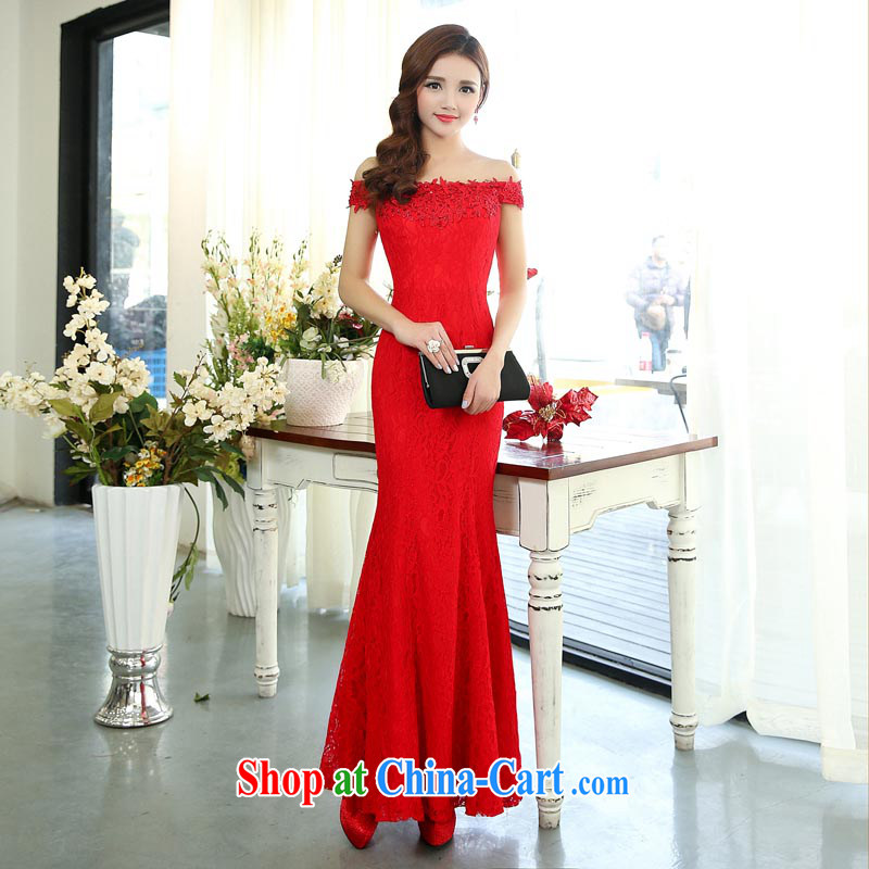Arrogant season fall 2015 marriage, red long gown Evening Dress graphics thin crowsfoot bridal toast serving fall and winter 1515 red XL