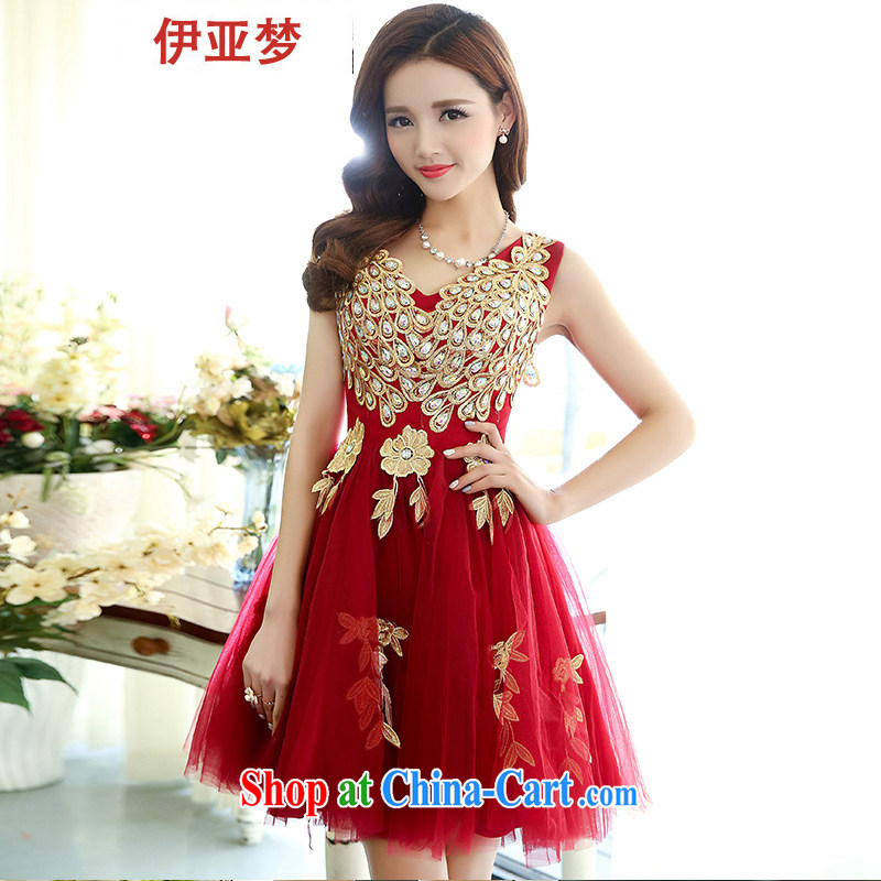 Bahia dream evening dress short bridesmaid wedding dresses women 2015 new bride toast service gathering Annual Dinner small dress dress girl deep red L
