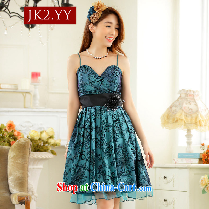 2 JK annual sweet dress and elegant value V lint-free cloth for lifting with the waist skirt in small dress dresses (take to remove) the green XXXL