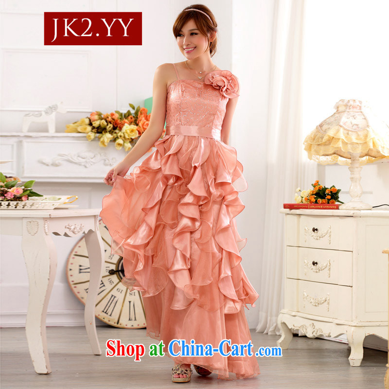 JK 2 nights Beautiful Clothes Show My Store dress up the princess skirt, straps, long evening dress dresses (take to remove) pink XXXL