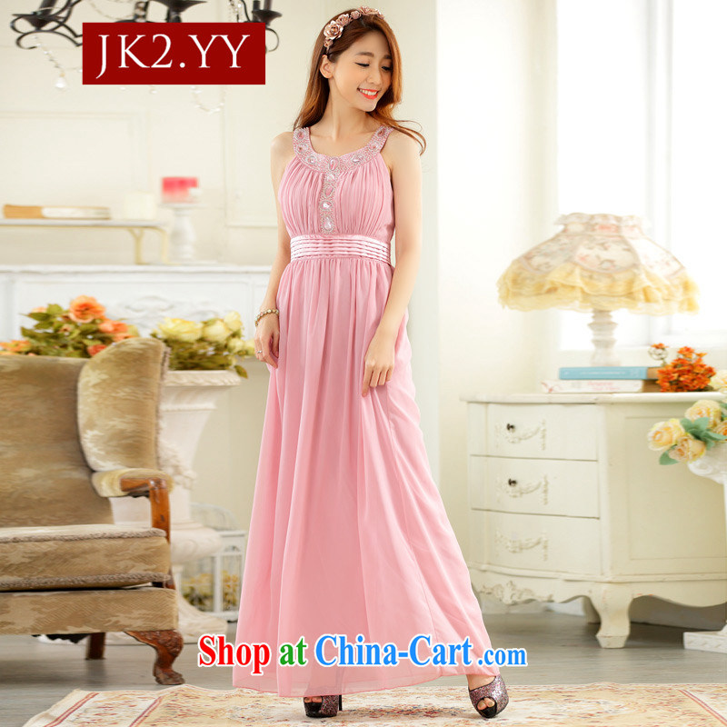 2 JK Korean high-end, shoulder a purely manual staple the Pearl Light drill long dress snow woven dresses pink XXXL