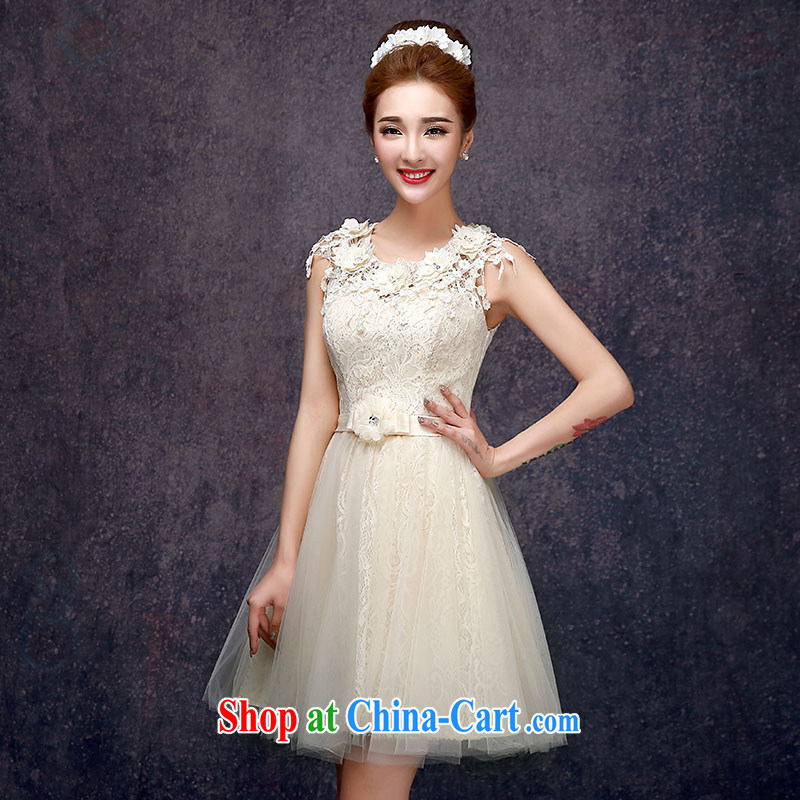 A good service is 2015 new summer dresses small sister's bridesmaid dress dress short bridesmaid with champagne color E - 605 3 XL
