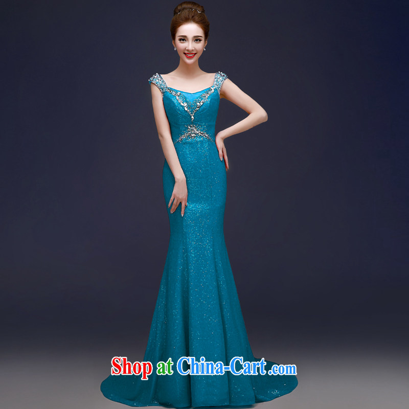 Serving a good solid red bridal wedding ceremony toast Service Annual Dinner moderator long tail at Merlion dress Ice Blue XL