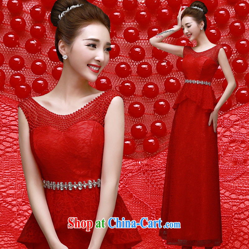 A good service is 2015 spring new marriages banquet annual meeting moderator dress red long dress red XL