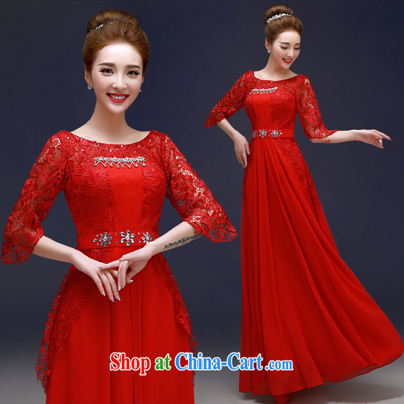 A good service is 2015 New Red bridal dress stylish beauty wedding dress Openwork lace bows serving red 2 XL