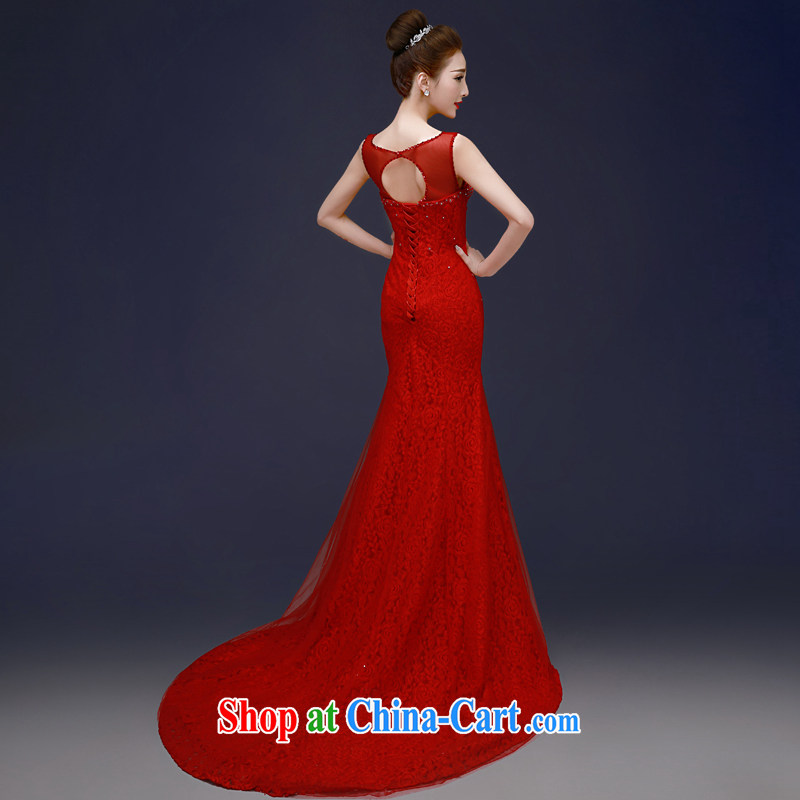 A good service is 2015 spring and fall new bride wedding banquet annual meeting moderator long-tail dress skirt red XL, good service, and, on-line shopping
