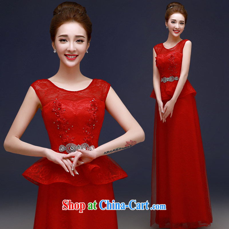 A good service is 2015 New Red Bridal Fashion beauty wedding dresses long banquet dress uniform toasting red 2 XL