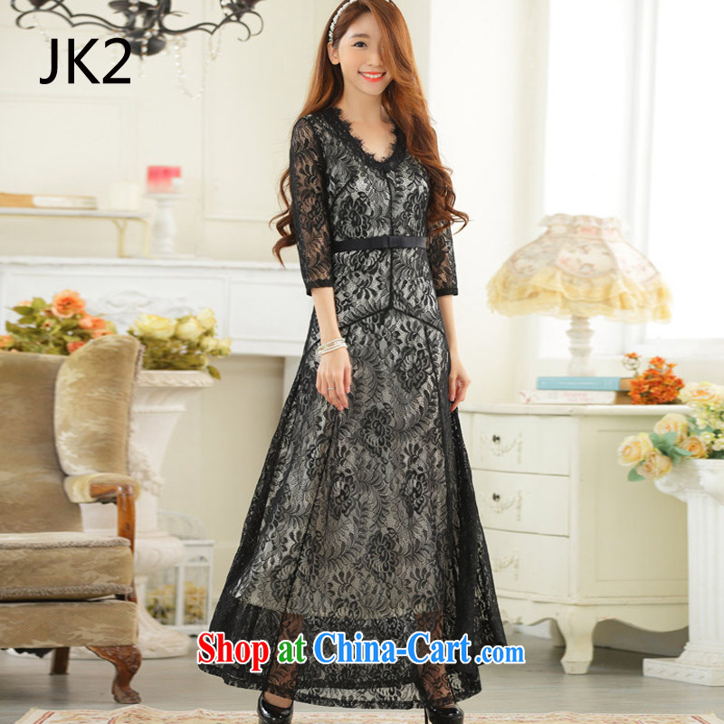 High-end lace sexy V collar, long sleeves, the dress code dress JK 2 9731 black XXXL