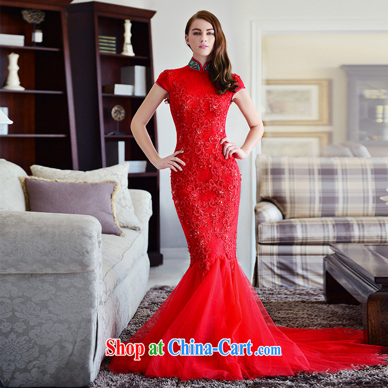 Full court, bridal cheongsam dress 2015 new winter, the collar red packets and crowsfoot lace trailing long bows. Red Tail 30 CM 173 - M