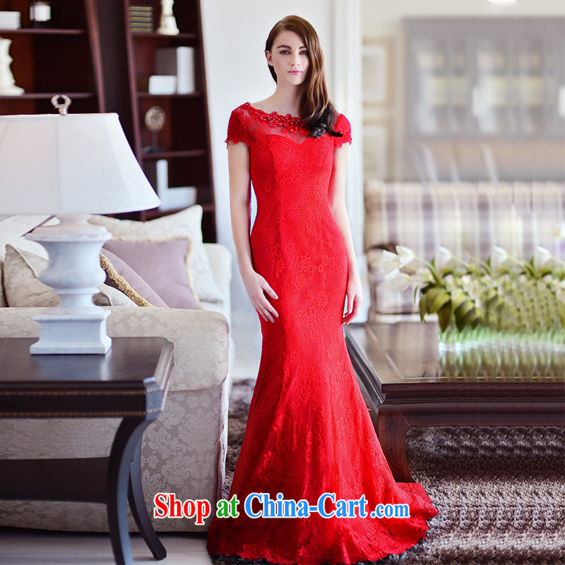 2015 new Garden autumn and winter bridal red crowsfoot package shoulder tail toast wedding service long dress red tail 15 CM 173 - M