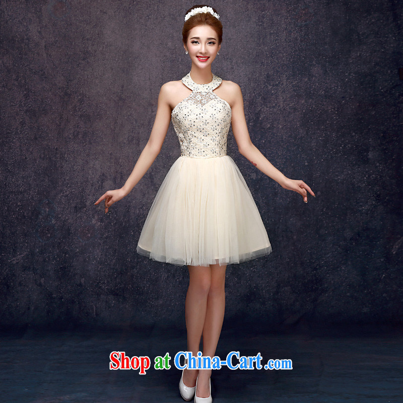A good service is 2015 new summer short sister's bridesmaid dress dress bridesmaid with small dress champagne color champagne color 2 XL