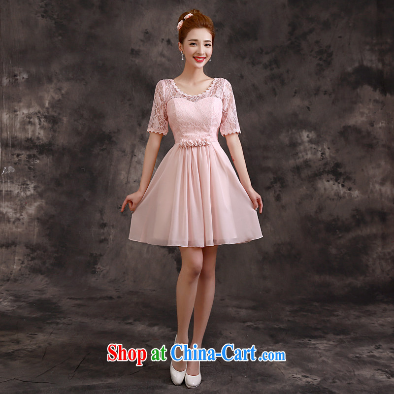 A service is a good summer 2015 new sister's bridesmaid dress short skirt, small dress bridesmaid with pink D 04 paragraph 2 sleeves XL