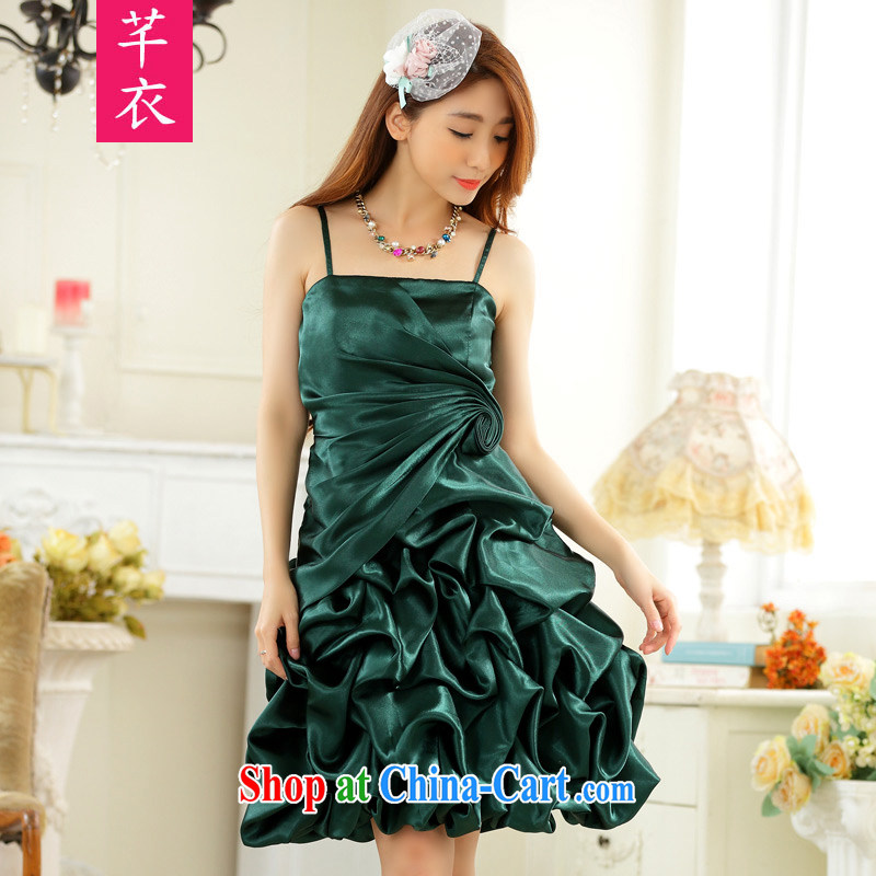 Constitution, 2015 new XL ladies' annual Dress Your shoulders sense of GALLUS DRESS the wrinkles show lantern skirt the small dress thick mm dress emerald green large XL 3 160 - 180 jack