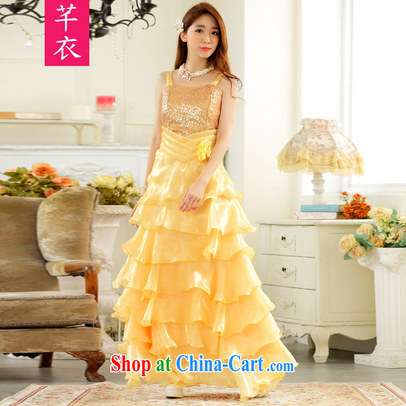 Constitution, 2015 evening the eyes show her night dress presided over the princess skirt XL sexy straps long evening dress thick mm wedding dresses yellow large XL 3 160 - 180 jack