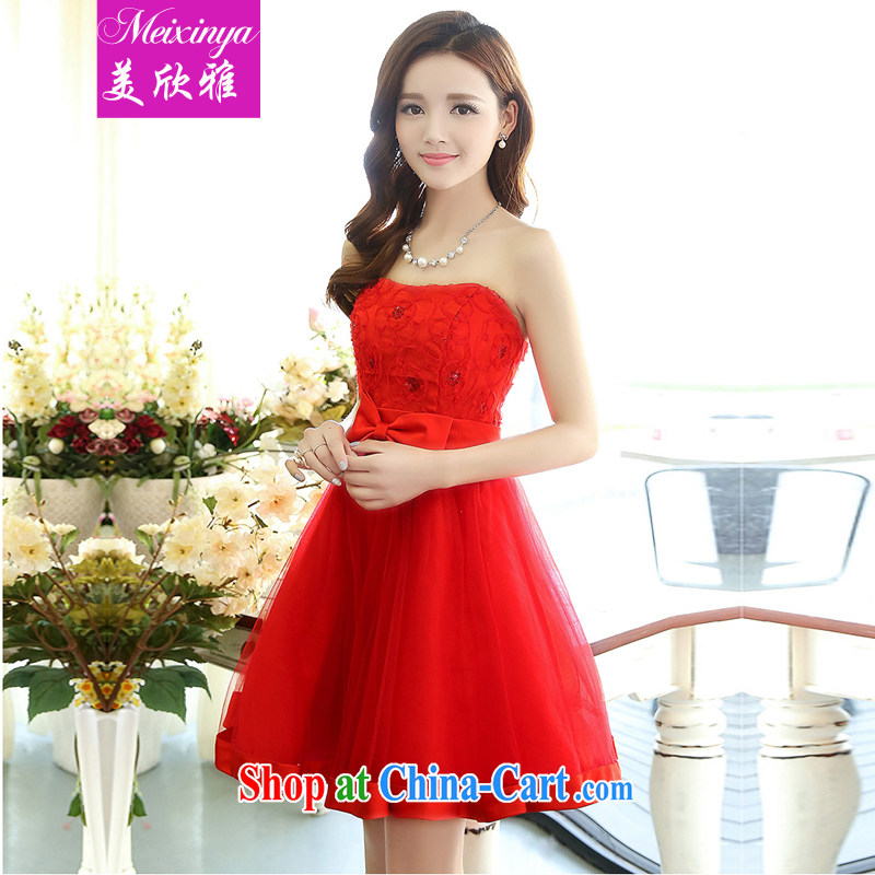 The Yan Nga 2015 spring and summer new bride with red smears chest shaggy dresses wedding dresses 1519 red XL