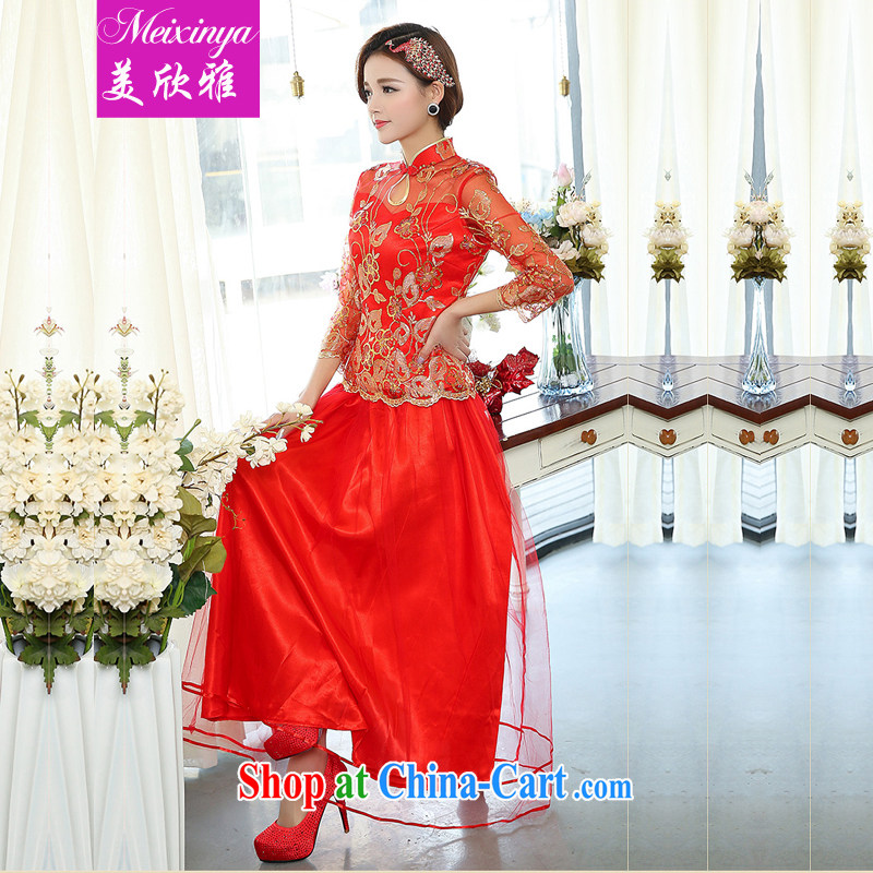 The Yan, 2015 new women Banquet hosted performances bride down the liquor service package wedding dress 1503 red XXXL
