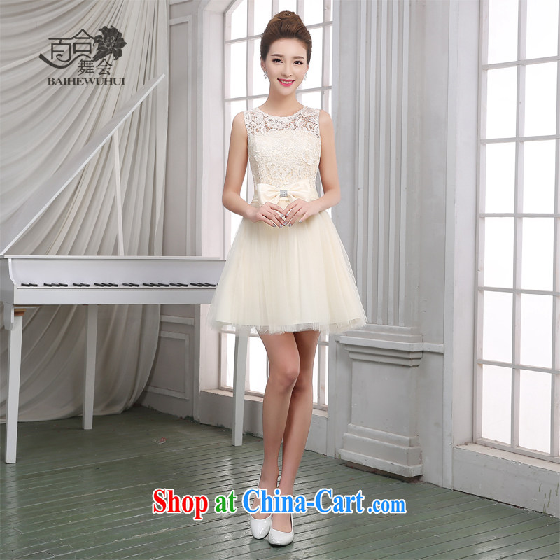 100 the ball bridesmaid dress new, summer 2015 beauty, short bridesmaid dresses in bridesmaid sister serving as annual meeting banquet show moderator small dress girl champagne color M