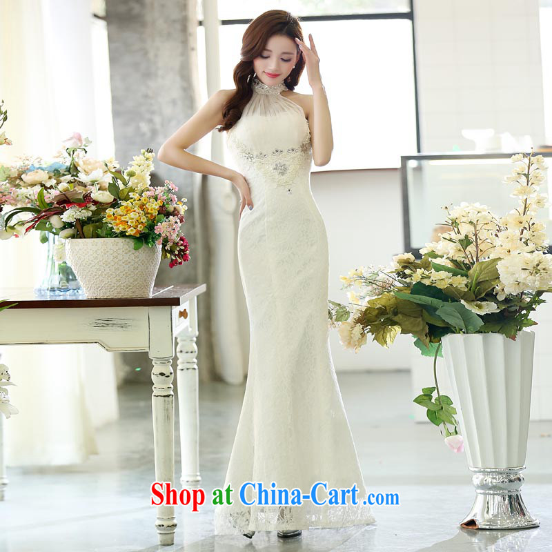 Arrogant season dress fall 2015 toast annual service dress back exposed cultivating crowsfoot marriages long white gown XL