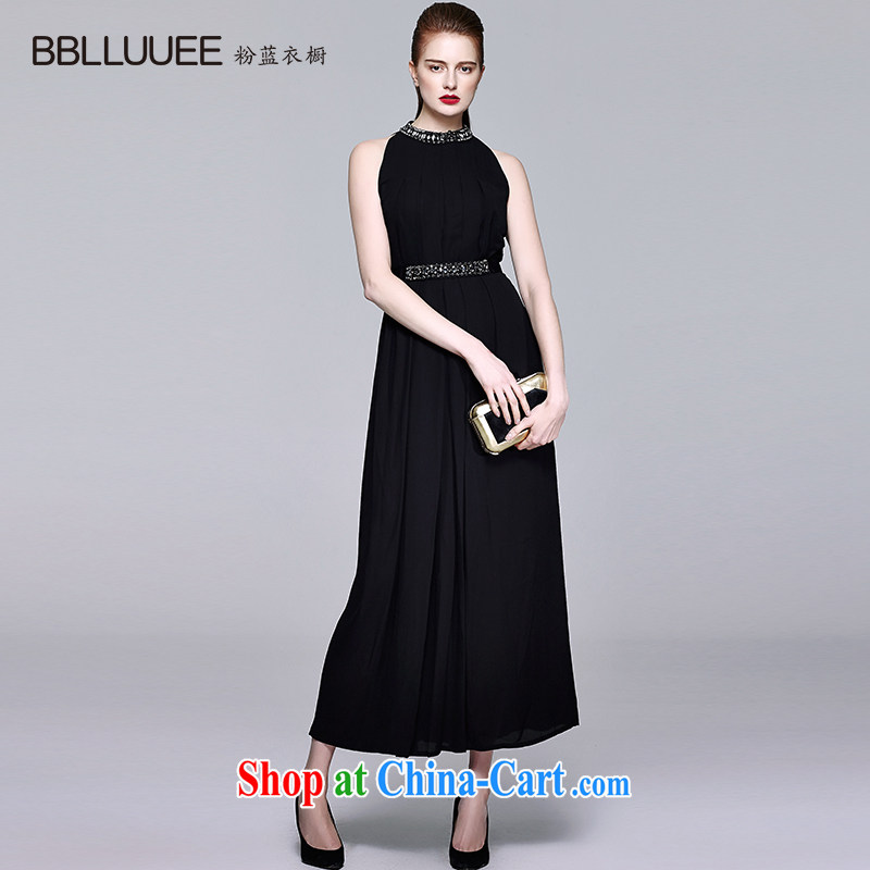 BBLLUUEE toner blue wardrobe 2015 summer new dress elegant snow woven a waist long skirt fairy dresses black XL