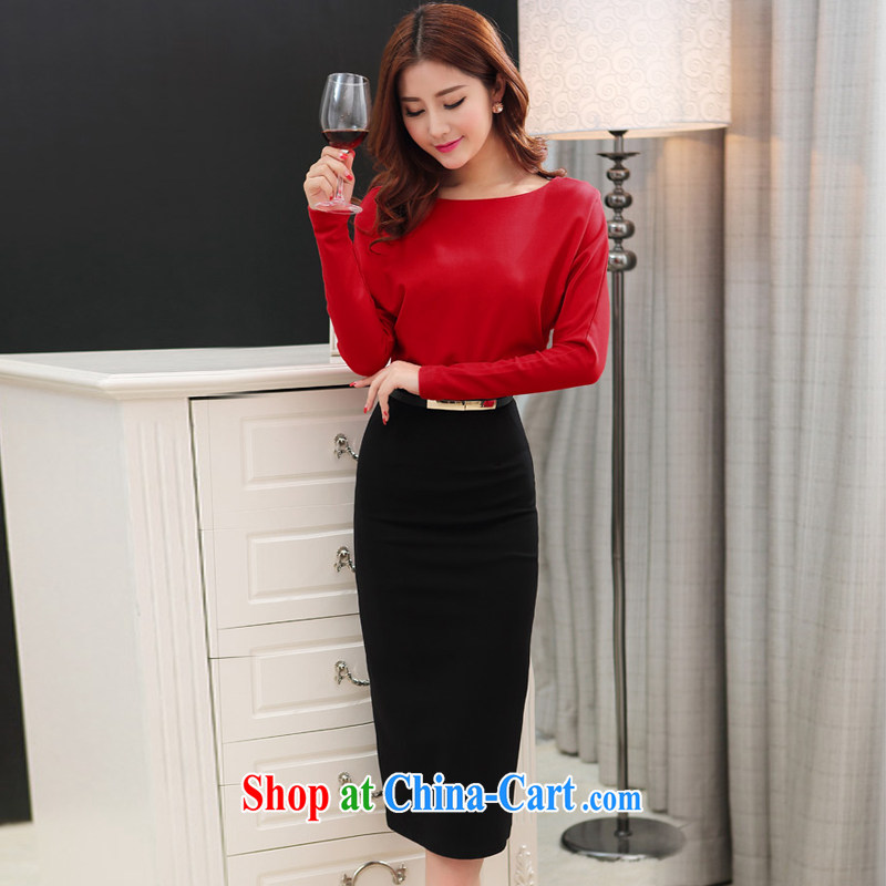 White-beige BYMS 2015 spring female Korean fashion graphics thin spell color solid-skirt dress long skirt 138,708 red XL