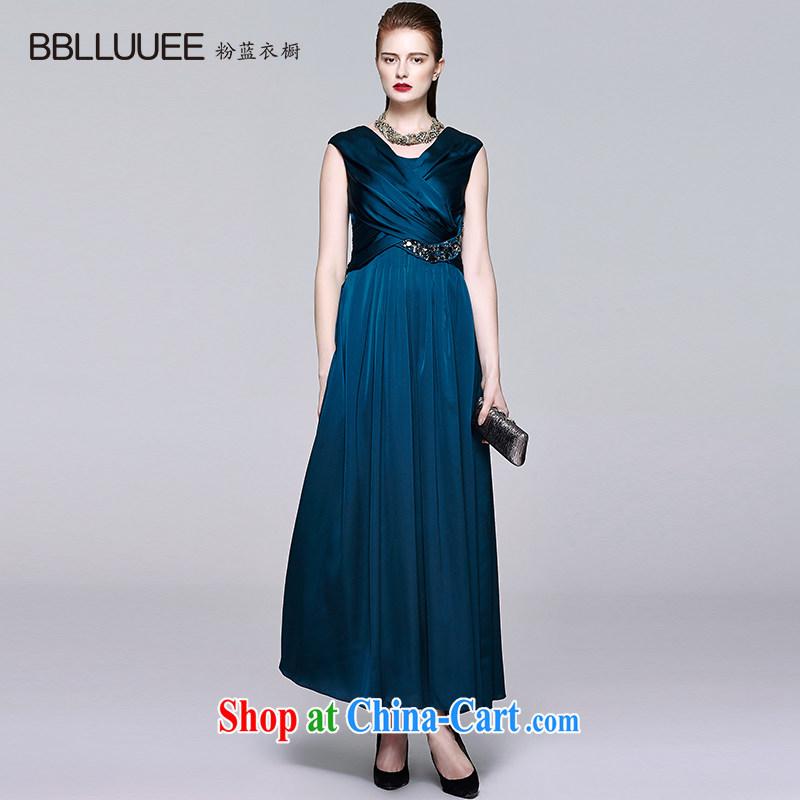BBLLUUEE toner blue wardrobe summer deep V-neck, dress skirts dresses and elegant name Yuan blue water green L