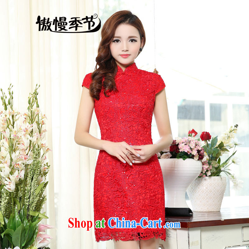 Arrogant season spring 2015 new toast bride serving the short-sleeve dresses dresses wedding dresses short red lace picture color S