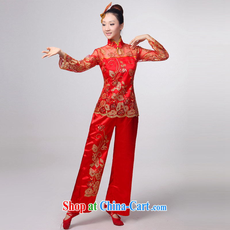 2015 yangko clothing female performances spring serving new folk dances in serving older square Janggu dance fan dance HMB - 8668 red XXL