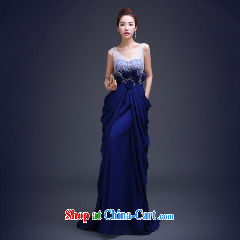The Vanessa dress the new summer Korean stylish evening dress party banquet dress long zip beauty graphics thin dress female blue banquet dress XXL