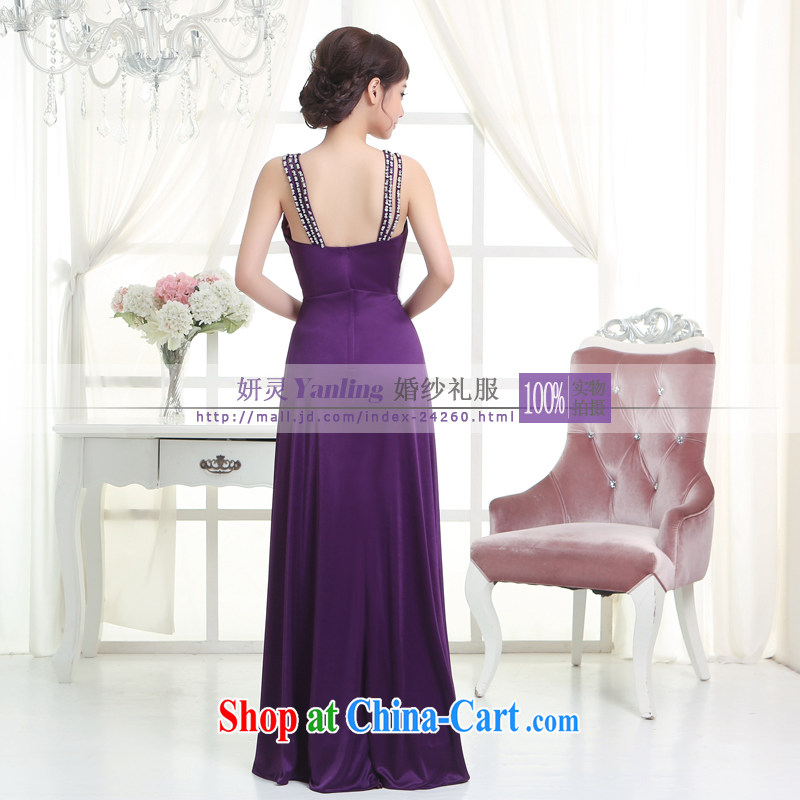 Her spirit/YANLING 2014 bridal gown new V collar strap long dress show clothing - 14,055 purple XXXXL