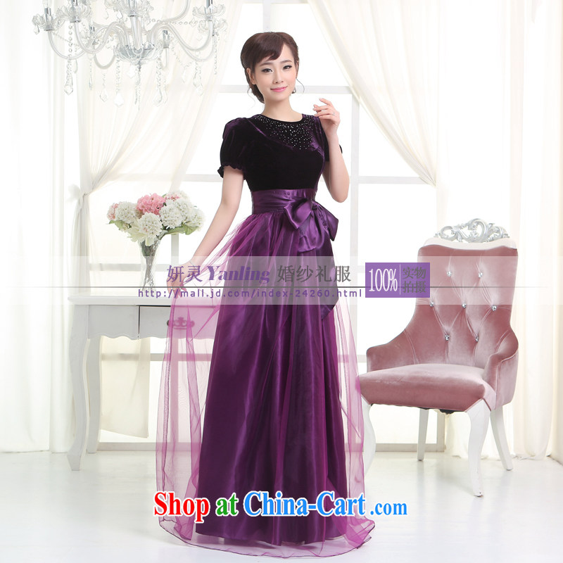 Her spirit_YANLING royal blue moderator dress dress long dual-shoulder parquet drill cultivating dress 14,057 purple XXXXL