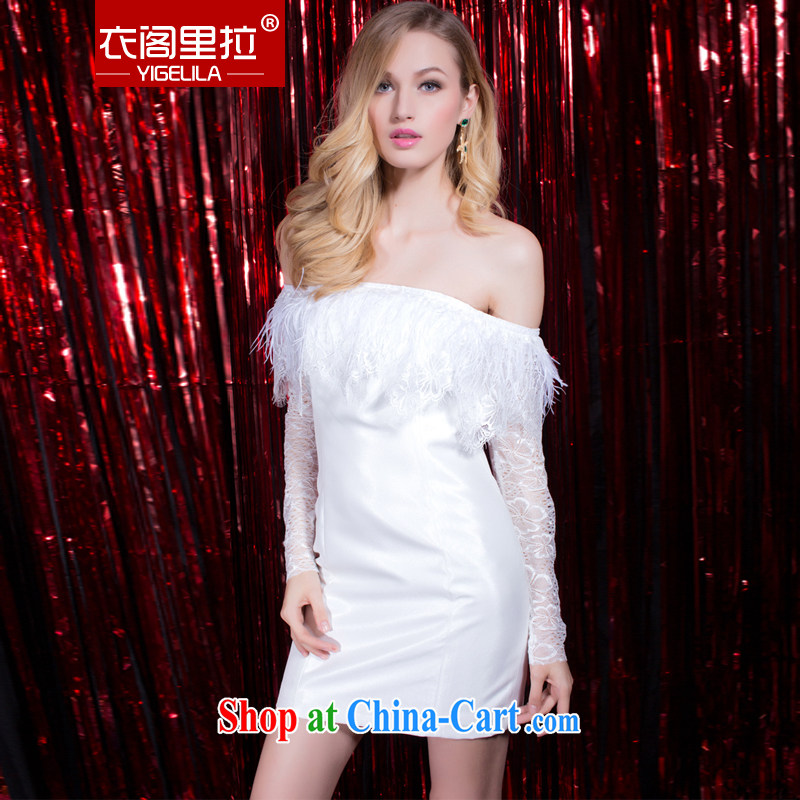 Yi Ge Theo-Ben Gurirab of Yuan aura sense of the word bare shoulders the lace Openwork cuff dress dress white 6904 S