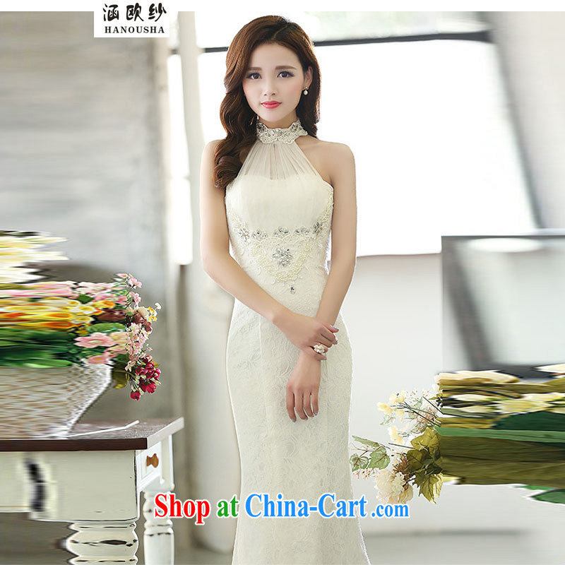 COVERED BY THE 2015 bridesmaid dress long, small dress bride wedding toast clothing evening dress is also bridesmaid clothing white XL