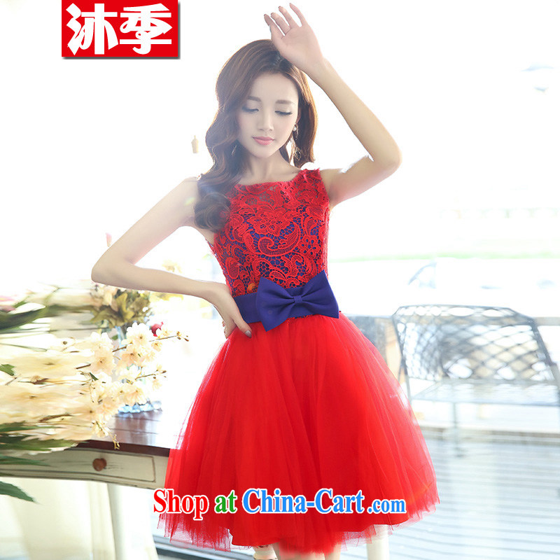 The world 2015 new wedding dress red floral short chest bare bows service bridesmaid evening gown dance service 1521 red with blue XL