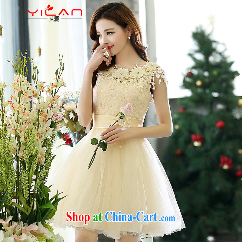 The world 2015 new wedding dresses wedding toast service back to doors wavy collar vest dresses bridesmaid dress Kit 1518 white XL