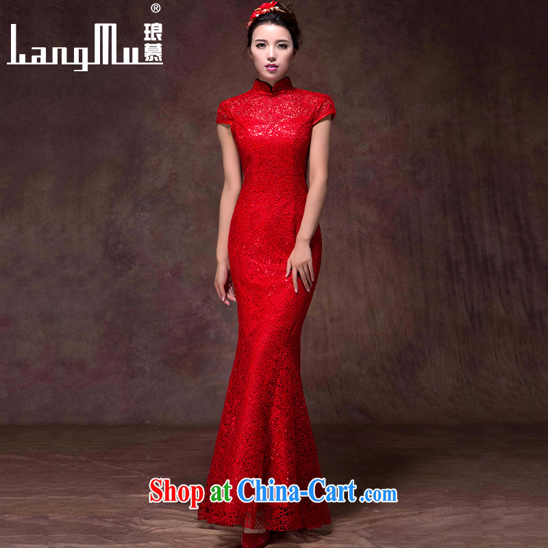 In Luang Prabang in 2015 OF NEW Bridal Fashion bows dress red dress long crowsfoot cultivating, for wedding dresses red advanced customization