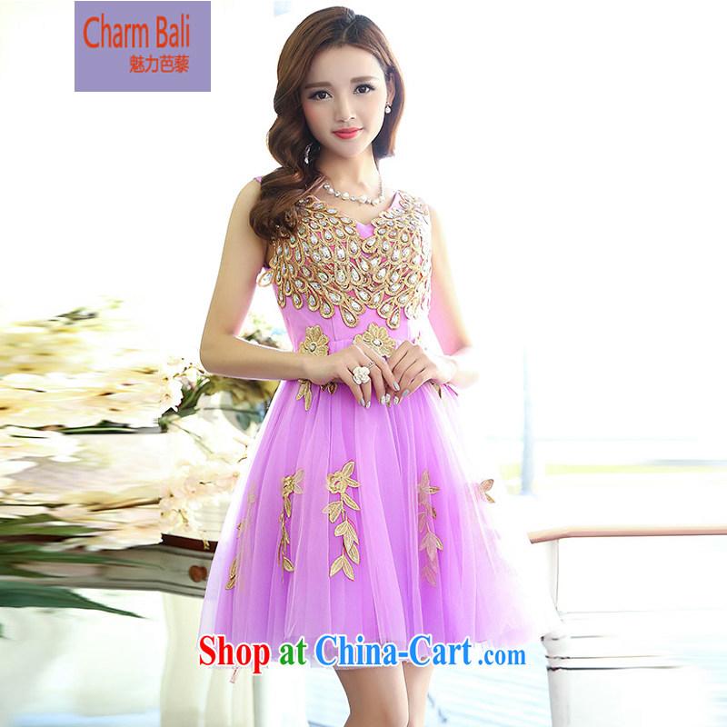2015 summer edition Korea stylish sleeveless V collar Peacock shaggy dress skirt wedding dress purple XL