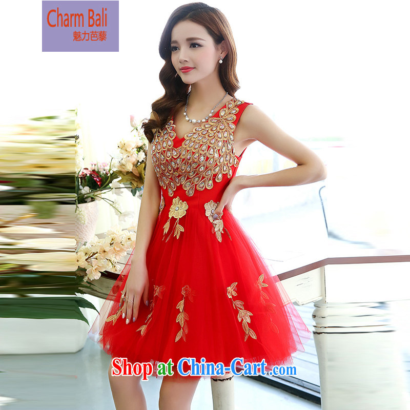 Hip Hop charm and Asia 2015 summer Korean fashion sleeveless V collar Peacock shaggy dress skirt wedding dress red XL