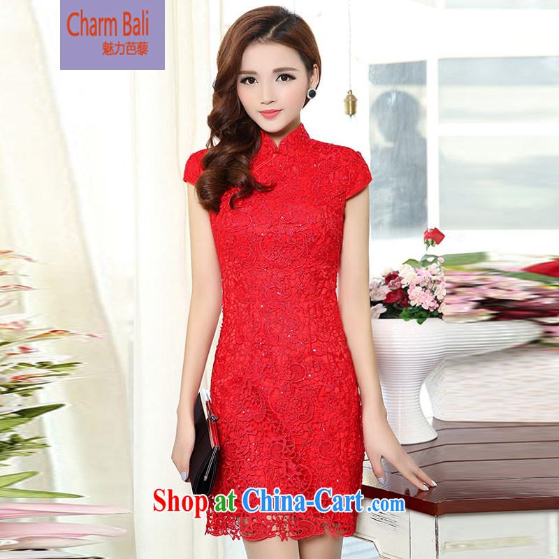 Hip Hop charm and Asia 2015 summer Korean Beauty lace retro package cuff wedding dress skirt red XXXL