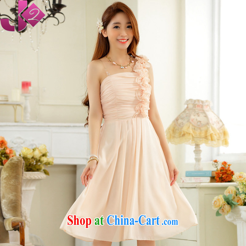 JK 2. YY stylish wedding season sister dress fungus single shoulder snow woven dresses dresses the Code, as well as bridesmaid serving champagne color 3 XL 175 recommendations about Jack