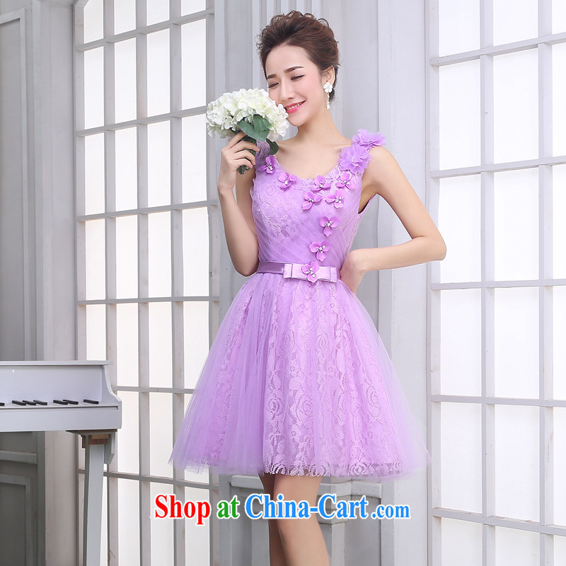100 the ball bridesmaid dress winter 2015 new bridesmaid's sister dress light purple short annual banquet dress moderator light purple B dual-shoulder T 14,009 XXL