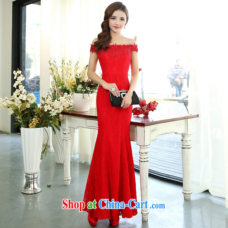 (The 2015 new women dress with a shoulder sleeveless-waist long dresses the wedding dress Evening Dress wedding dress red XL