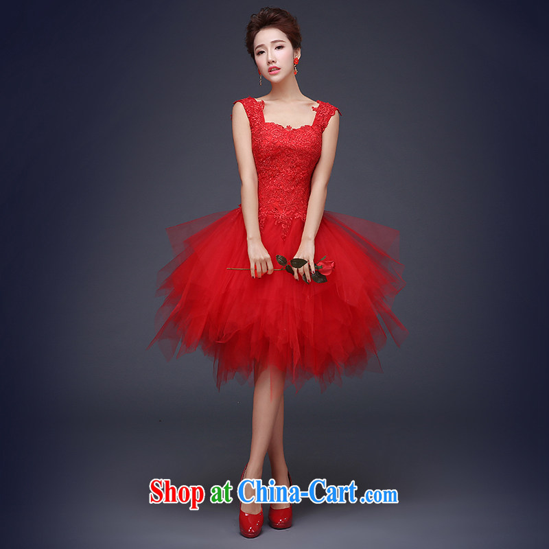 The Vanessa wedding dresses new Korean-style red lace short Meeting banquet dress bride wedding toast serving shoulders small dress dance dress female Red lace short dress tailored (final)