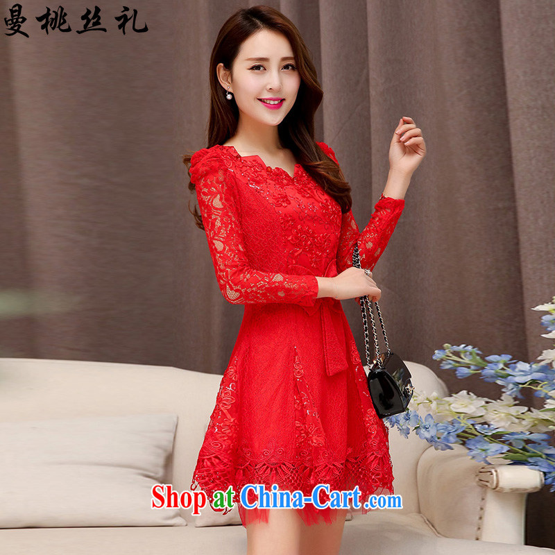 Cayman commercial silk dresses, dresses 2015 spring Korean fashion style red bridal wedding dress back door toast bridesmaid dress dresses red XXL