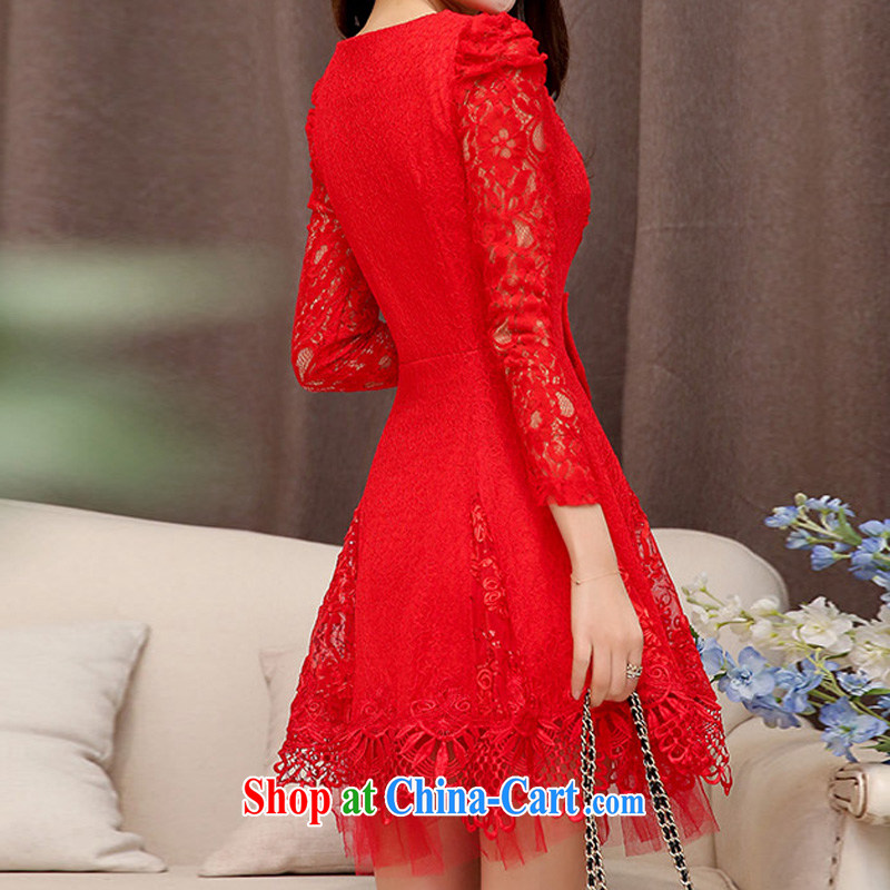 Cayman commercial silk dresses, dresses 2015 spring Korean fashion style red bridal wedding dress back door toast bridesmaid evening dress dresses red XXL, business, gift, shopping on the Internet