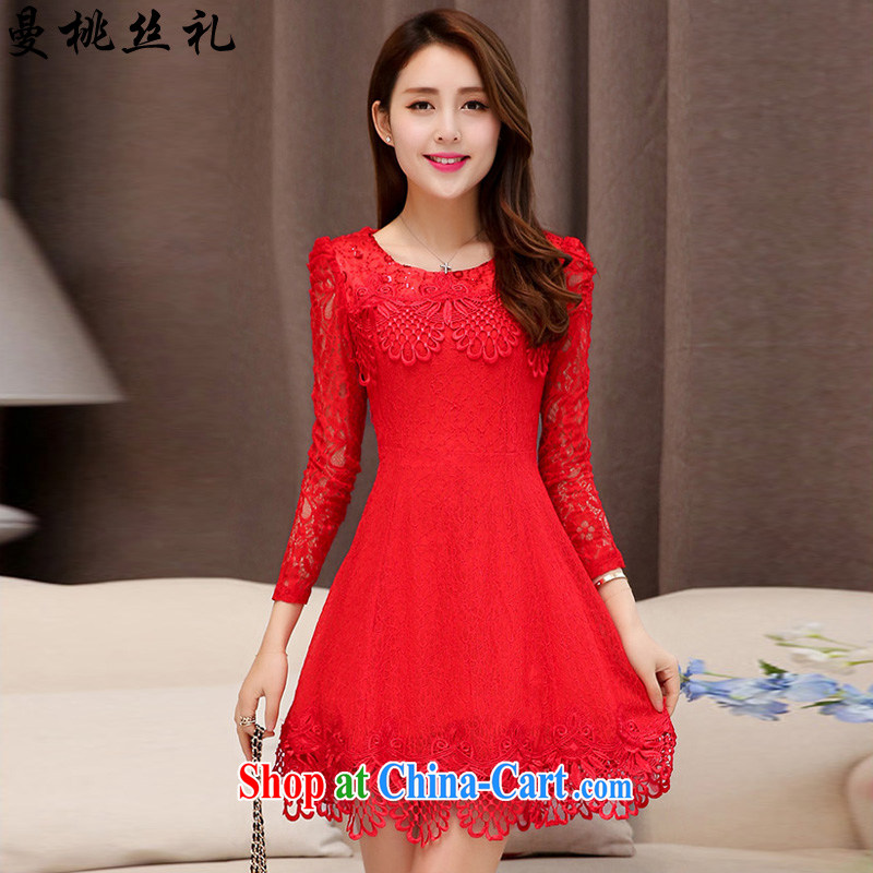 Cayman commercial silk ceremony dress dresses Evening Dress 2015 new style performances wedding banquet evening dress dress bridesmaid wedding clothes lace dresses dress female Red XXL